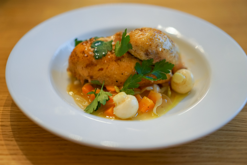 Slow Roasted Coquelet with Braised Market Vegetables